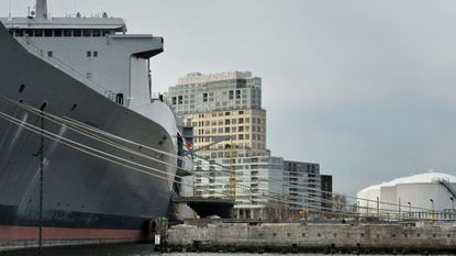 The U.S. Navy Ready Reserve Fleet ship Denebola is shown docked in Locust Point in this 2015 file photo.