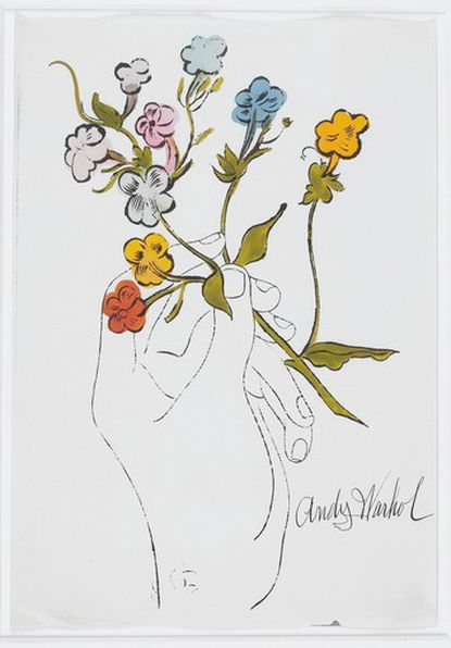 "Andy Warhol's ""Hand with Flowers"" was among 21 paintings from the private collection of Jane Meyerhoff that were donated to the Walters Art Museum."