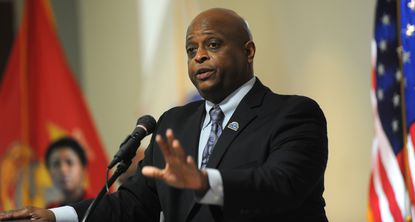 Antione Waller, director, Baltimore Regional Office of the U.S. Department of Veterans Affairs, leads a town hall meeting on benefits for veterans