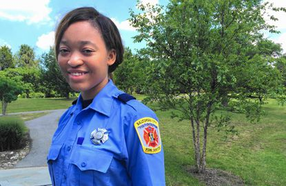 Tyonia Mclean, 19, began training in high school to be an EMT in the Baltimore Fire Department.