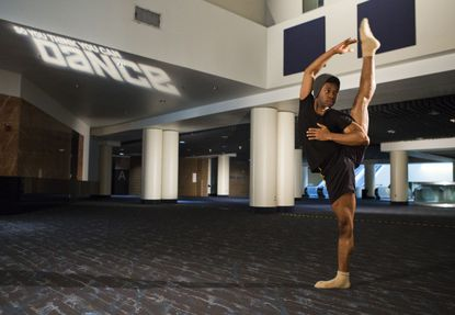 """A contestant shows off his moves at the New Orleans auditions for """"So You Think You Can Dance."""""""