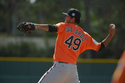 Baltimore Orioles pitcher Yovani Gallardo (49) throws at the first day of workouts for position players as well as pitchers and catchers on the field during spring training at the Ed Smith Stadium complex.