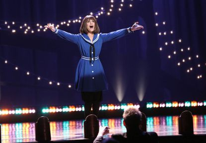 "GLEE: Rachel (Lea Michele) performs in her ""Funny Girl"" Broadway debut in the ""Opening Night"" episode of GLEE airing Tuesday, April 22 (8:00-9:00 PM ET/PT) on FOX. ©2014 Fox Broadcasting Co. CR: Tyler Golden/FOX"