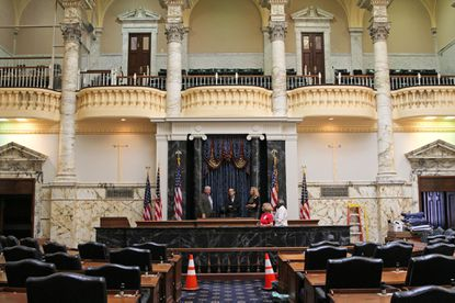 "Maryland House of Delegates as it preps for ""House of Cards"" filming."