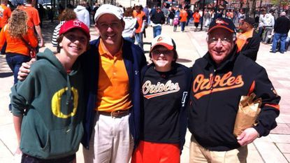 The Haas family -- Jonah, Matt, Sam and Josh -- pose before Friday's Orioles season-opener against the Twins at Camden Yards.