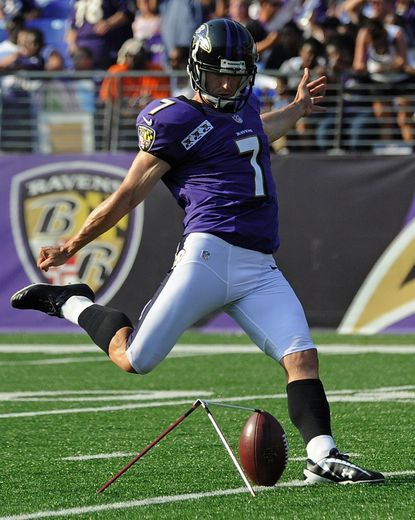 Billy Cundiff kicks during Ravens practice at M&T Bank Stadium in Baltimore Saturday.