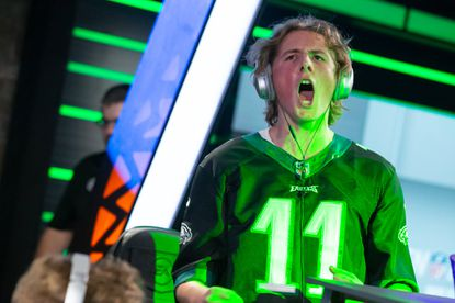 Noah Johnson screams during his championship game of the 2020 Madden Challenge. The 17-year-old from Ellicott City became the youngest player to win the competitive video game tournament and earned $35,000 for his victory.
