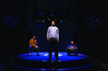 """(Left to right:) Dwight Hicks, Anthony Holiday, and Bill Geisslinger star as former football players in """"X's and O's"""" at Center Stage."""