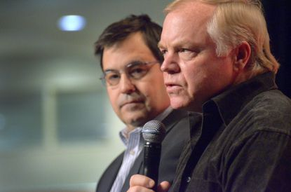 Executive vice president Dan Duquette (left) and manager Buck Showalter are now under contract with the Orioles through the 2018 season.