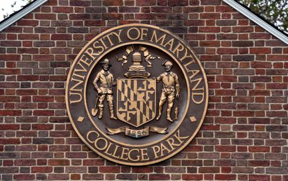 A stylized State Seal on the gates of the University of Maryland, College Park on Campus Drive, Kim Hairston/Baltimore Sun staff. 2018