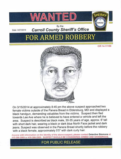 The Carroll County Sheriff's Office has released a sketch of the man suspected of a robbery March 15 in the parking lot of the Panera Bread on Georgetown Boulevard in Eldersburg.