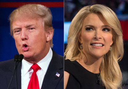 This combination made from Aug. 6, 2015 photos shows Republican presidential candidate Donald Trump, left, and Fox News Channel host and moderator Megyn Kelly during the first Republican presidential debate. at the Quicken Loans Arena, in Cleveland.