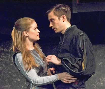 """Ali Evarts as Ophelia and Phil Gillen in the title role of """"ahmlet,"""" continuing at Compass Rose Theater through Nov. 20."""