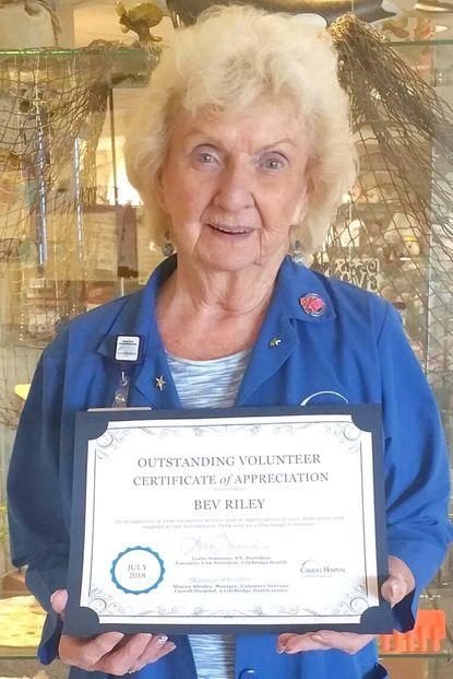 Riley named July outstanding volunteer