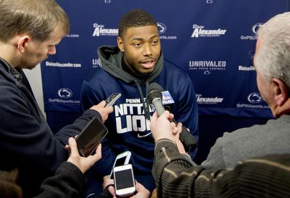 Penn State safety Adrian Amos (Calvert Hall) talks to reporters in December.