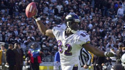 Ravens tight end Shannon Sharpe approaches the goal line after catching a pass from Trent Dilfer for a 96-yard touchdown in the second quarter of the AFC championship game against the Oakland Raiders in January 2001.