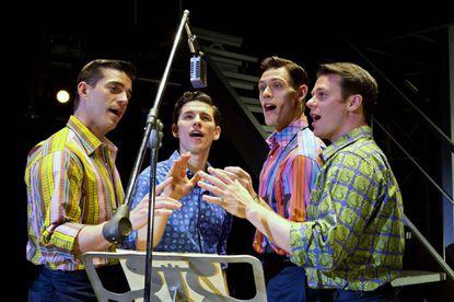"From left, Brandon Andrus, Nick Cosgrove (as Frankie Valli), Jason Kappus and Nicolas Dromard in ""Jersey Boys"" at the Hippodrome Nov. 12-24."