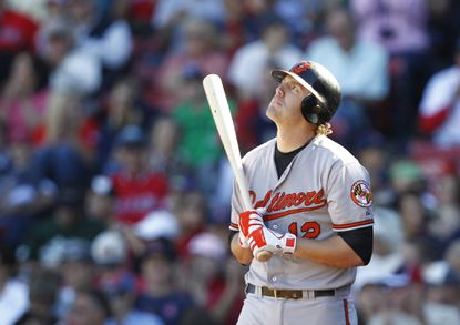Mark Reynolds reacts after striking out against the Red Sox.