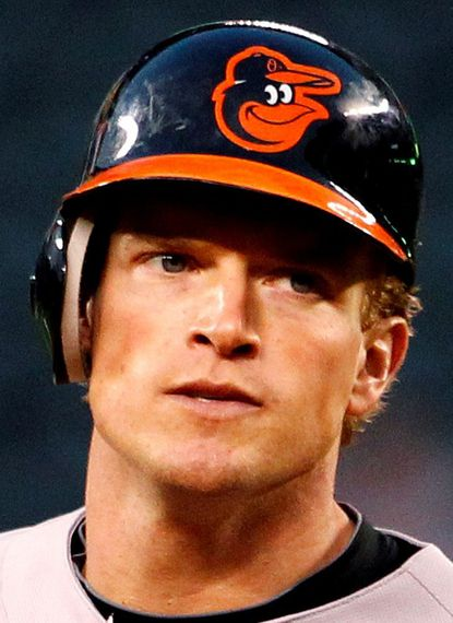 Seattle Mariners Baltimore Orioles in the first inning of a baseball game Monday, Sept. 17, 2012, in Seattle. (AP Photo/Elaine Thompson)