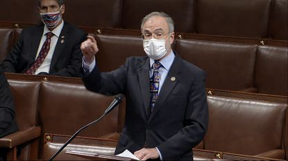 In this image from video, Rep. Andy Harris, R-Md., speaks as the House debates the objection to confirm the Electoral College vote from Pennsylvania, at the U.S. Capitol early Thursday, Jan. 7, 2021. (House Television via AP)