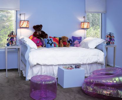 A child's bedroom painted Paradise View, a color available from Benjamin Moore Paints.