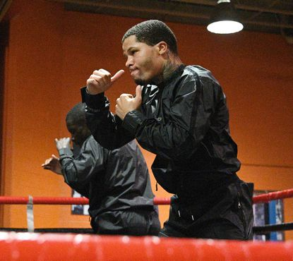 Baltimore boxer Gervonta Davis, right, at the fight week media workout. He's a two-time super featherweight world champion that's scheduled to fight Richardo Núñez at Royal Farm Arena in Baltimore, Maryland. Fighter Richardson Hitchins, left, shadow box in the ring with Davis at Upton Boxing Center.