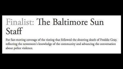 The Sun a Pulitzer finalist in two categories for coverage of Freddie Gray's 'shooting death.' What?