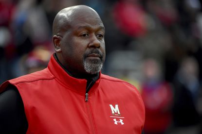 Maryland coach Mike Locksley looks on before a game against Nebraska, Saturday, Nov. 23, 2019, in College Park.