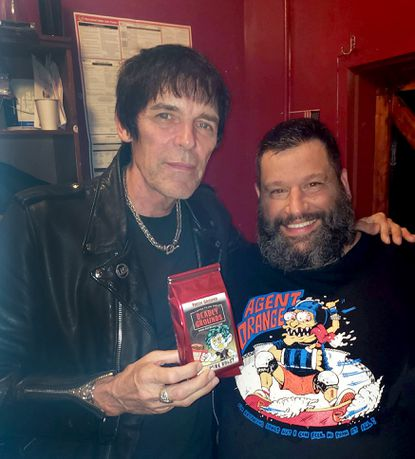 Ron Saccoccio, on the right, with Richie Ramone, the drummer from The Ramones, on the left. Snubbed Records is sending free bags of their signature brand coffee, Deadly Grounds Punk Roast and Punk'n Patch to those in need of some serious caffeine during the quarantine.
