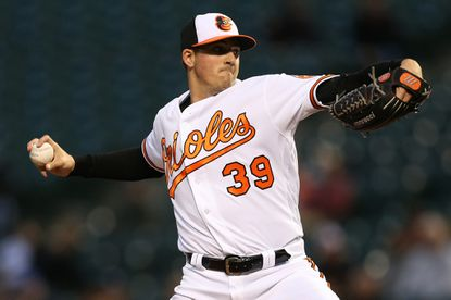 Orioles starting pitcher Kevin Gausman works the first inning against the New York Yankees at Oriole Park at Camden Yards on May 5, 2016 in Baltimore.