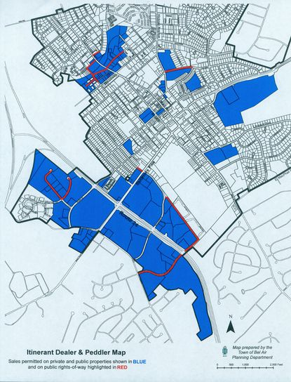 Bel Air's latest plan to allow food trucks to operate in town will restrict them to the blue areas in the above map and along a few streets, which are marked in red.