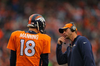 Broncos offensive coordinator Adam Gase, shown speaking with Peyton Manning in a Nov. 23 game, is well regarded by Ravens officials.