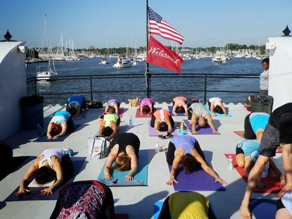 Yoga on the Harbor Queen boat