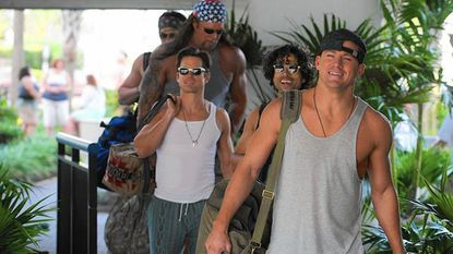 """Magic Mike (Channing Tatum), front, leads his stripper crew on a road trip to Myrtle Beach, S.C., in """"Magic Mike XXL."""""""