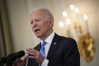 U.S. President Joe Biden reiterated his hope that Facebook will better police vaccine misinformation on their platform, speaking in the State Dining Room of the White House on July 19, 2021 in Washington, DC. (Photo by Drew Angerer/Getty Images)