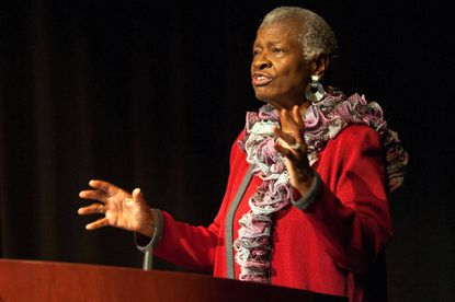 Social Activist, political commentator, and author Dorothy F. Bailey speaks to the crowd during the event.