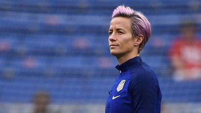 U.S. forward Megan Rapinoe walks on the pitch before Tuesday's Women's World Cup semifinal contest against England.
