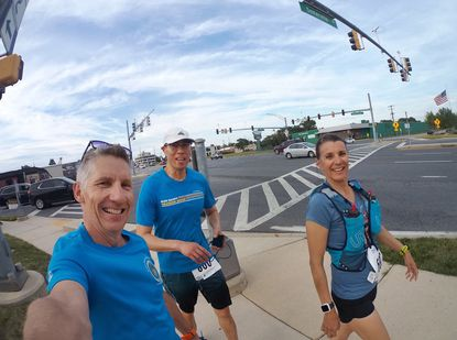Jimmy Wilson, Darryl Mak and Kim Burke competed in the 24-hour Run Your Town Challenge at the Annapolis Towne Center earlier this month.
