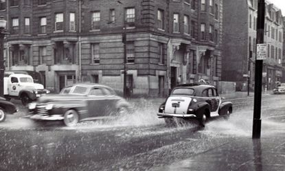 The Baltimore street on a rainy day in 1948.