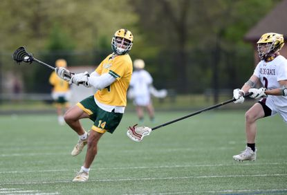 North Harford's Derek Caiazzo turns and fires a shot on the Havre de Grace goal as defender Eli Teefy moves in during the game Wednesday, April 21, 2021 at Havre de Grace.