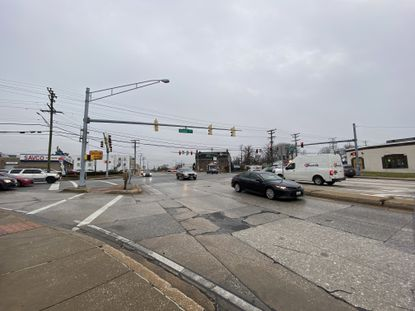 The intersection of Joppa Road and Loch Raven Boulevard, where a possible traffic circle was studied and rejected in favor of changes to the traffic signal cycles.