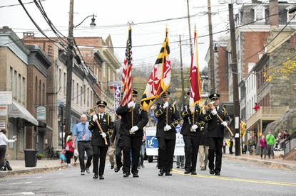 Last year's Veterans Day Parade was held on Main Street in Ellicott City. The parade will follow a route on nearby road this year, as flood recovery continues.