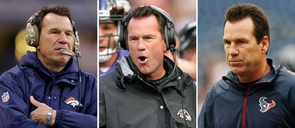 From left are file photos showing Denver Broncos head coach Gary Kubiak during an NFL game on Nov. 8, 2015, Baltimore Ravens offensive coordinator Gary Kubiak during a game on Sept. 2, 2014 and Houston Texans head coach Gary Kubiak before a game on Nov. 24, 2013.