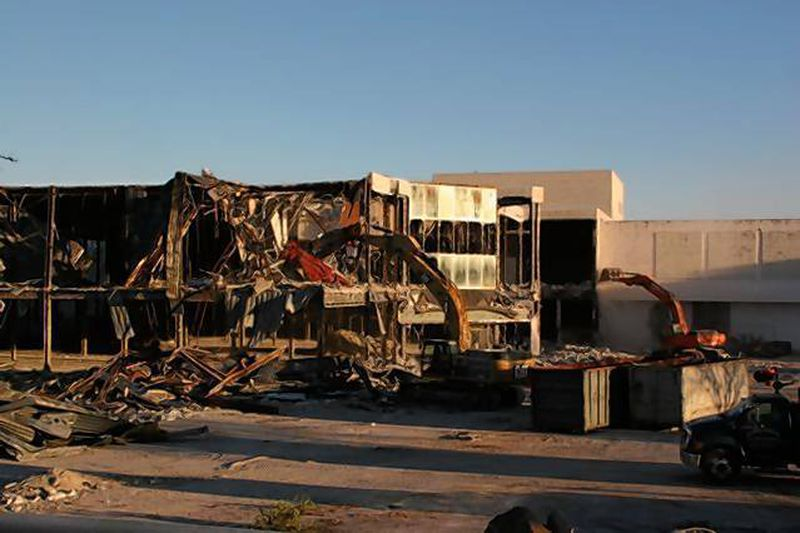 The former Macy's store is the first building to be demolished at Laurel Mall.