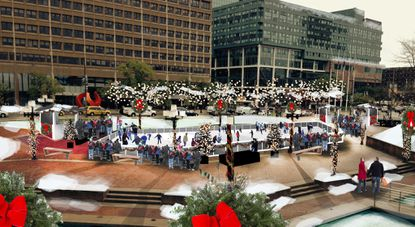 Rendering of the proposed ice skating rink for McKeldin Square at the Inner Harbor.
