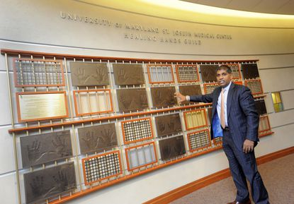 Towson,MD -- Mohan Suntha was named CEO of Univeristy of Maryland MEdical Center in Baltimore on Thursday. He is pictured here in 2013 at University of Maryland St. Joseph Medical Center, where he had been CEO.
