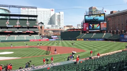 Staff at Camden Yards prepare for Thursday's 3:05 p.m. home opener against the New York Yankees.