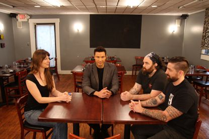 "Host Rocco DiSpirito (in blazer ) with the Maggie's Farm owners (left to right) Laura Marino, Andrew Weinzirl and Matthew Weaver. DiSpirito came to the Harford Road restaurant over Labor Day weekend to tape an episode of the Food Network show ""Restaurant Divided."""