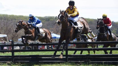 Left to right, Mark Beecher on Mystic Strike, Eric Poretz on Witor and Bethany Baumgardner on Grand Manan jump over timber during the 109th My Lady's Manor Steeplechase race. Beecher rode Mystic Strike to a first-place finish.