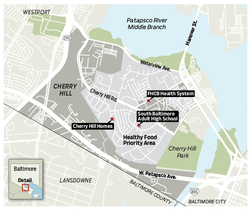 """Baltimore's Cherry Hill neighborhood, designed as a community for Black veterans in the late 1940s, has two bus lines and no grocery stores. The city labels much of the neighborhood a """"Healthy Food Priority Area,"""" a designation that considers residents' income, access to a vehicle and proximity to healthful food options."""